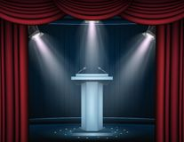 Showtime banner with podium and curtain illuminated by spotlights. Illustration of Showtime banner with podium and curtain illuminated by spotlights Royalty Free Stock Images