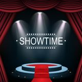 Showtime banner with podium and curtain illuminated by spotlights. Illustration of Showtime banner with podium and curtain illuminated by spotlights Stock Photo