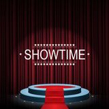 Showtime banner with podium and curtain illuminated by spotlights. Illustration of Showtime banner with podium and curtain illuminated by spotlights Royalty Free Stock Photography