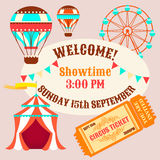 Showtime Circus Poster. Circus tent, balloons and a ticket to the circus Stock Images