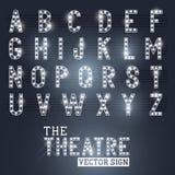 Showtime teatertecken och alfabet Arkivfoton