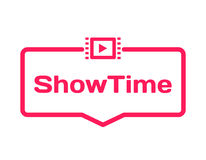Showtime template dialog bubble in flat style on white background. Basis with film icon for various word of plot. Vector. Showtime template dialog bubble in flat Stock Photography