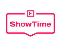 Showtime template dialog bubble in flat style on white background. Basis with film icon for various word of plot. Vector. Showtime template dialog bubble in flat Royalty Free Stock Photos