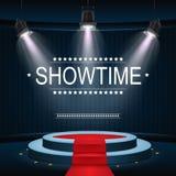 Showtimebanner met podium en rood die tapijt door schijnwerpers wordt verlicht royalty-vrije illustratie