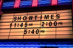 Showtimings Stock Photo