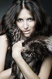 Showy brunette in furs. Portrait of showy brunette in furs stock photos