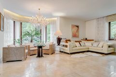 Showy and spacious living room Stock Photos