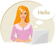 Showy woman speaking. Vector illustration of business woman with laptop in office. The girl has long red hair.  She wears a pink dress. Woman sitting at the Royalty Free Stock Photography