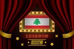 Showzeitbrett für Leistung, Kino, Unterhaltung, Roulette, Schürhaken der Libanon-Landdes ereignisses Gl?nzende Gl?hlampen lizenzfreie abbildung