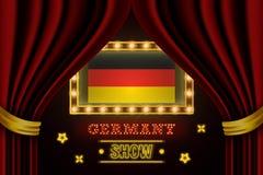 Showzeitbrett für Leistung, Kino, Unterhaltung, Roulette, Schürhaken des Deutschland-Landereignisses Gl?nzende Gl?hlampeweinlese  stock abbildung