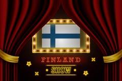 Showzeitbrett für Leistung, Kino, Unterhaltung, Roulette, Schürhaken des Finnland-Landereignisses Gl?nzende Gl?hlampeweinlese von lizenzfreie abbildung