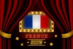 Showzeitbrett für Leistung, Kino, Unterhaltung, Roulette, Schürhaken des Frankreich-Landereignisses Gl?nzende Gl?hlampeweinlese v stock abbildung