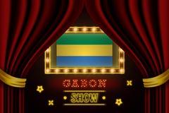 Showzeitbrett für Leistung, Kino, Unterhaltung, Roulette, Schürhaken des Gabun-Landereignisses Gl?nzende Gl?hlampeweinlese von vektor abbildung