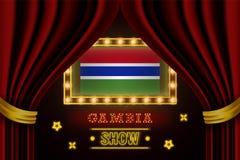 Showzeitbrett für Leistung, Kino, Unterhaltung, Roulette, Schürhaken des Gambia-Landereignisses Gl?nzende Gl?hlampeweinlese von lizenzfreie abbildung