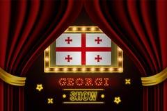 Showzeitbrett für Leistung, Kino, Unterhaltung, Roulette, Schürhaken des Georgia-Landereignisses Gl?nzende Gl?hlampeweinlese von stock abbildung