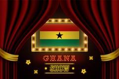 Showzeitbrett für Leistung, Kino, Unterhaltung, Roulette, Schürhaken des Ghana-Landereignisses Gl?nzende Gl?hlampeweinlese von lizenzfreie abbildung