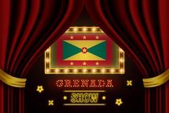Showzeitbrett für Leistung, Kino, Unterhaltung, Roulette, Schürhaken des Grenada-Landereignisses Gl?nzende Gl?hlampeweinlese von stock abbildung