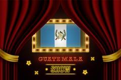 Showzeitbrett für Leistung, Kino, Unterhaltung, Roulette, Schürhaken des Guatemala-Landereignisses Gl?nzende Gl?hlampeweinlese vo vektor abbildung