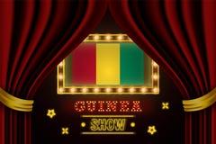 Showzeitbrett für Leistung, Kino, Unterhaltung, Roulette, Schürhaken des Guinea-Landereignisses Gl?nzende Gl?hlampeweinlese von lizenzfreie abbildung