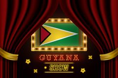 Showzeitbrett für Leistung, Kino, Unterhaltung, Roulette, Schürhaken des Guyana-Landereignisses Gl?nzende Gl?hlampen vektor abbildung