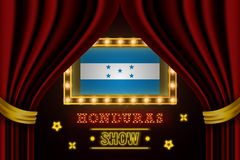 Showzeitbrett für Leistung, Kino, Unterhaltung, Roulette, Schürhaken des Honduras-Landereignisses Gl?nzende Gl?hlampen vektor abbildung