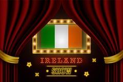 Showzeitbrett für Leistung, Kino, Unterhaltung, Roulette, Schürhaken des Irland-Landereignisses Gl?nzende Gl?hlampeweinlese von lizenzfreie abbildung