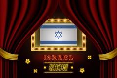 Showzeitbrett für Leistung, Kino, Unterhaltung, Roulette, Schürhaken des Israel-Landereignisses Gl?nzende Gl?hlampeweinlese von lizenzfreie abbildung