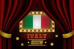 Showzeitbrett für Leistung, Kino, Unterhaltung, Roulette, Schürhaken des Italien-Landereignisses Gl?nzende Gl?hlampeweinlese von lizenzfreie abbildung