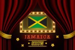 Showzeitbrett für Leistung, Kino, Unterhaltung, Roulette, Schürhaken des Jamaika-Landereignisses Gl?nzende Gl?hlampeweinlese von lizenzfreie abbildung