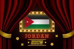 Showzeitbrett für Leistung, Kino, Unterhaltung, Roulette, Schürhaken des Jordanien-Landereignisses Gl?nzende Gl?hlampeweinlese vo stock abbildung