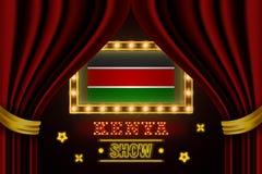 Showzeitbrett für Leistung, Kino, Unterhaltung, Roulette, Schürhaken des Kenia-Landereignisses Gl?nzende Gl?hlampen stock abbildung