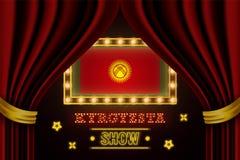 Showzeitbrett für Leistung, Kino, Unterhaltung, Roulette, Schürhaken des Kirgisistan-Landereignisses r stock abbildung