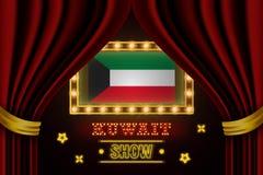 Showzeitbrett für Leistung, Kino, Unterhaltung, Roulette, Schürhaken des Kuwait-Landereignisses Gl?nzende Gl?hlampeweinlese von lizenzfreie abbildung