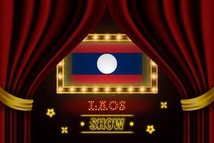 Showzeitbrett für Leistung, Kino, Unterhaltung, Roulette, Schürhaken des Laos-Landereignisses Glänzende Glühlampeweinlese von Lao lizenzfreie abbildung