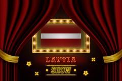 Showzeitbrett für Leistung, Kino, Unterhaltung, Roulette, Schürhaken des Lettland-Landereignisses Gl?nzende Gl?hlampen stock abbildung