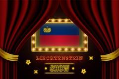 Showzeitbrett für Leistung, Kino, Unterhaltung, Roulette, Schürhaken des Liechtenstein-Landereignisses Gl?nzende Gl?hlampen lizenzfreie abbildung