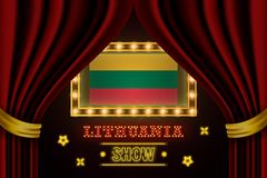 Showzeitbrett für Leistung, Kino, Unterhaltung, Roulette, Schürhaken des Litauen-Landereignisses Gl?nzende Gl?hlampeweinlese von vektor abbildung