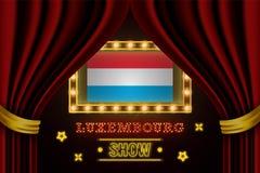 Showzeitbrett für Leistung, Kino, Unterhaltung, Roulette, Schürhaken des Luxemburg-Landereignisses r vektor abbildung