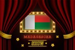 Showzeitbrett für Leistung, Kino, Unterhaltung, Roulette, Schürhaken des Madagaskar-Landereignisses r stock abbildung