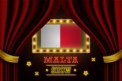 Showzeitbrett für Leistung, Kino, Unterhaltung, Roulette, Schürhaken des Malta-Landereignisses Gl?nzende Gl?hlampen stock abbildung