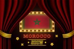 Showzeitbrett für Leistung, Kino, Unterhaltung, Roulette, Schürhaken des Marokko-Landereignisses Gl?nzende Gl?hlampeweinlese von stock abbildung