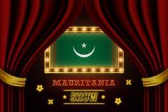 Showzeitbrett für Leistung, Kino, Unterhaltung, Roulette, Schürhaken des Mauretanien-Landereignisses Gl?nzende Gl?hlampen lizenzfreie abbildung
