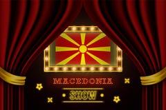 Showzeitbrett für Leistung, Kino, Unterhaltung, Roulette, Schürhaken des Mazedonien-Landereignisses Gl?nzende Gl?hlampeweinlese v lizenzfreie abbildung