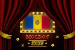 Showzeitbrett für Leistung, Kino, Unterhaltung, Roulette, Schürhaken des Moldau-Landereignisses Gl?nzende Gl?hlampeweinlese von lizenzfreie abbildung