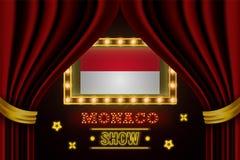 Showzeitbrett für Leistung, Kino, Unterhaltung, Roulette, Schürhaken des Monaco-Landereignisses Gl?nzende Gl?hlampeweinlese von vektor abbildung