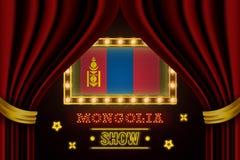 Showzeitbrett für Leistung, Kino, Unterhaltung, Roulette, Schürhaken des Mongolei-Landereignisses Gl?nzende Gl?hlampeweinlese von stock abbildung