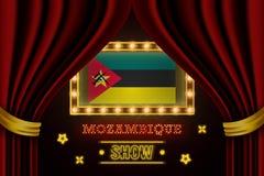 Showzeitbrett für Leistung, Kino, Unterhaltung, Roulette, Schürhaken des Mosambik-Landereignisses r lizenzfreie abbildung