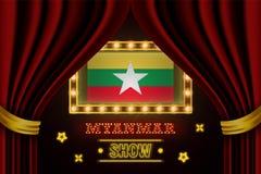 Showzeitbrett für Leistung, Kino, Unterhaltung, Roulette, Schürhaken des Myanmar-Landereignisses Gl?nzende Gl?hlampen vektor abbildung