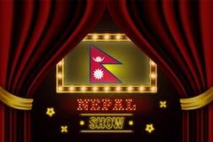 Showzeitbrett für Leistung, Kino, Unterhaltung, Roulette, Schürhaken des Nepal-Landereignisses Gl?nzende Gl?hlampeweinlese von vektor abbildung