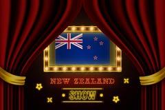 Showzeitbrett für Leistung, Kino, Unterhaltung, Roulette, Schürhaken des Neuseeland-Landereignisses r vektor abbildung